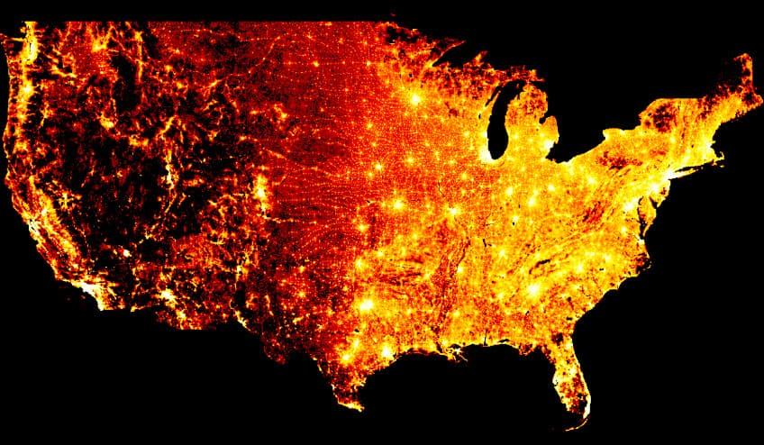 Data visualization map made with Datashader