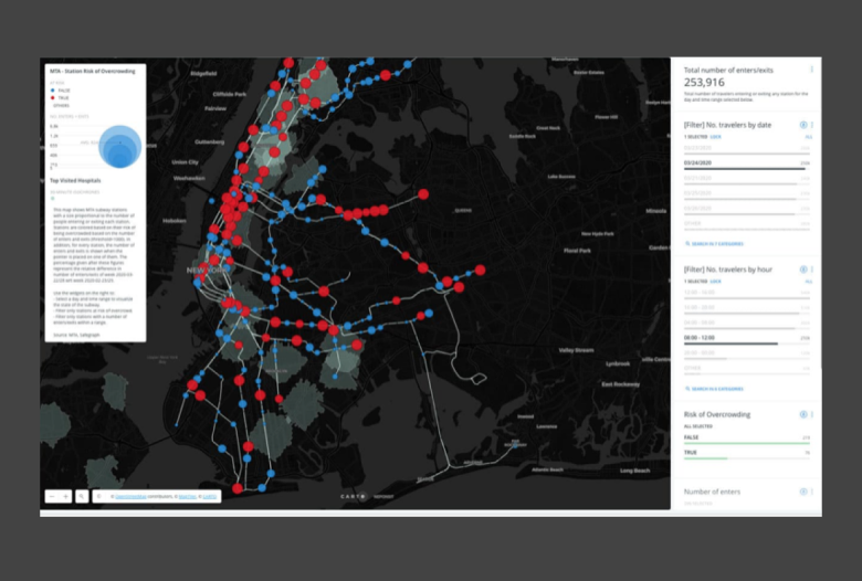 Image of Carto Dashboard with spatial data science