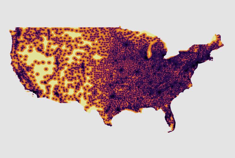 Image of USA with Pharmacy Desert Identification