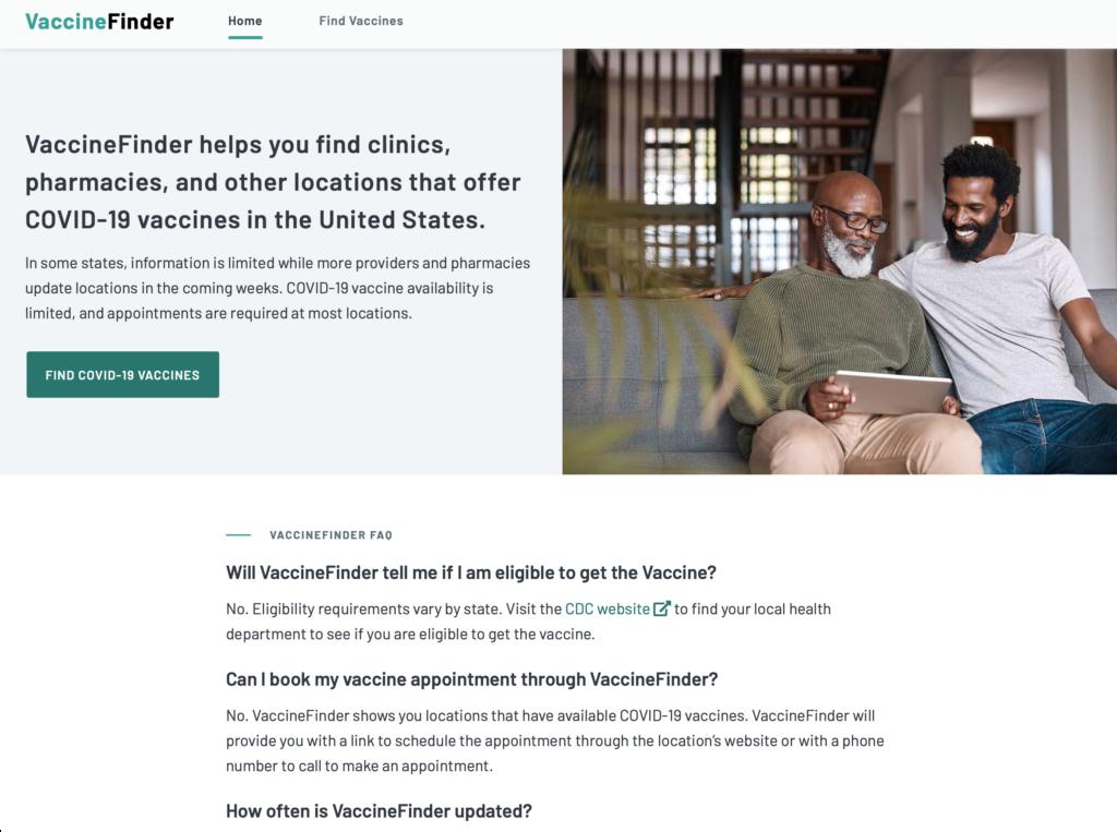 vaccinefinder.org homepage screenshot