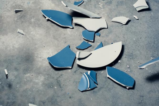 Broken pottery pieces